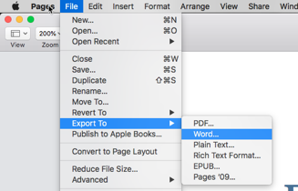 Exporting Apple Pages, Keynote, and Numbers files to Microsoft